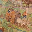 Image of detail from 1932 mural titled Early Commerce in Ohio in the South Hearing Room of Moyer Judicial Center.